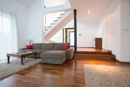 two storey house: Modern design of living room in two storey house Stock Photo