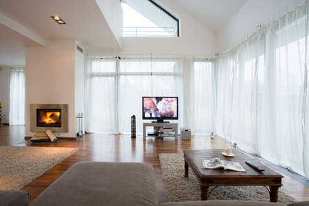 Big exclusive living room with home movie theater