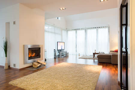 Up-to-date decor of new family room in big residence Banque d'images