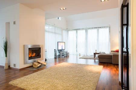 warm colors: Decoración actualizada de la nueva sala de estar en un gran residencia
