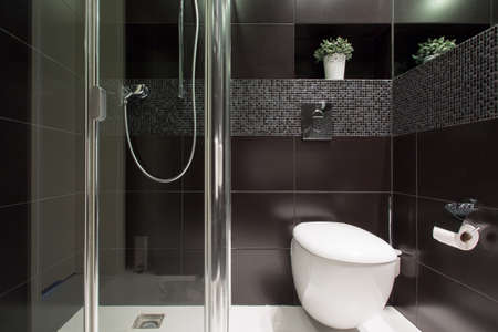 Horizontal view of black tiles at the bathroom Stock Photo