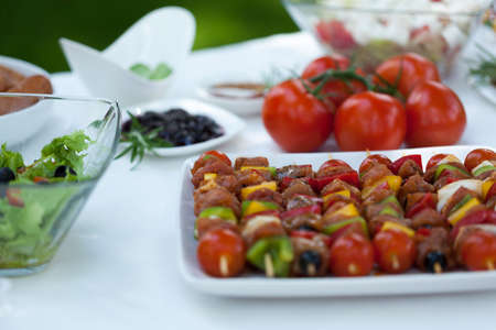 picnic tablecloth: Delicious shishkebabs made from vegetables and chicken