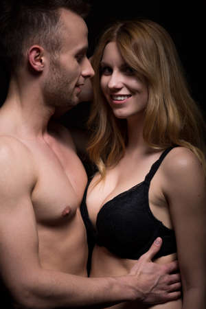 boy  naked: Beauty woman in bra and naked lover