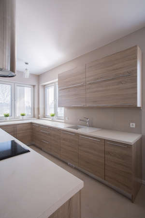 Photo of simple wooden units in contemporary kitchen photo