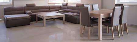 commodious: Photo of contemporary designed minimalistic lounge Stock Photo