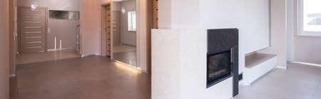 anteroom: Beige empty anteroom with marble tiles on floor