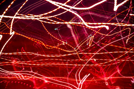 laser lights: Horizontal view of abstract red laser lights