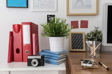 clean home: Close-up of materials for work in study room