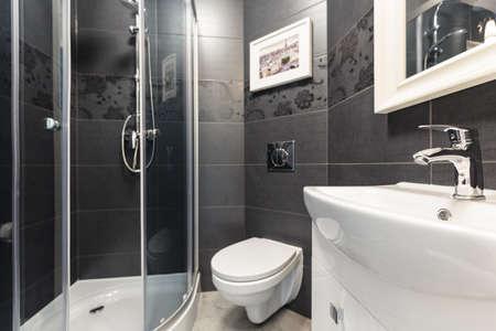 Schwarze Fliesen an der Wand in der zeitgenössischen Toilette Standard-Bild - 41068532