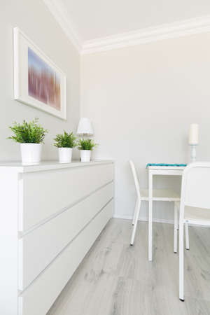 furniture detail: White furniture in modern living room interior
