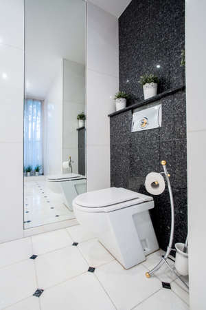 bw: Vertical view of toilet interior with b&w tiles Stock Photo