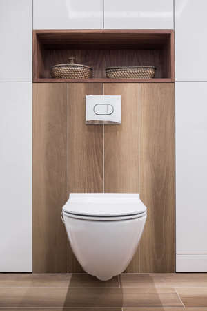 design: Restroom with white toilet on wooden panel Stock Photo