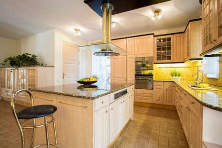 Close-up of kitchen island in designed kitchen