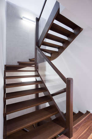staircase: Modern spiral wooden stairs in modern house