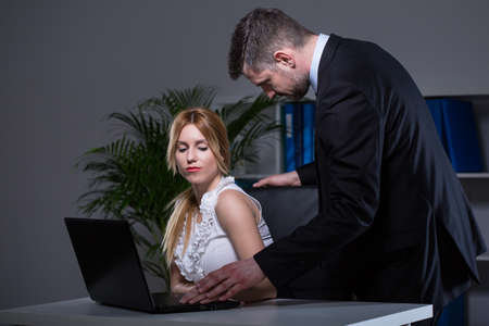 seducing: Confident boss being too close with his secretary