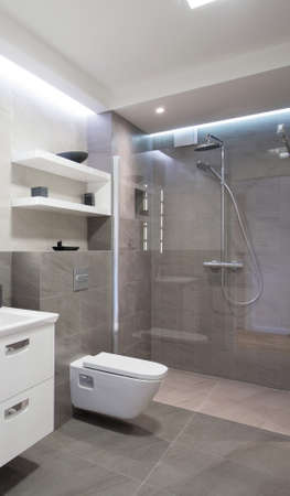 Salle de bains moderne avec douche avec porte en verre Banque d'images - 41634964