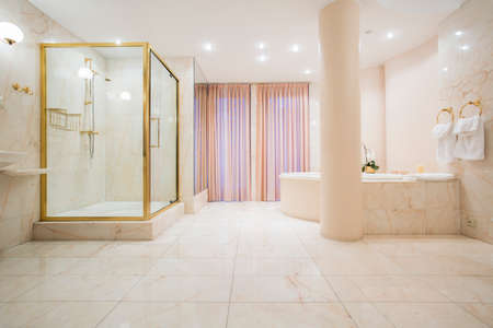 colour in: Spacious bathroom in pastel color in luxury mansion