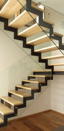construction barrier: Modern designed stairs made of wood and glass