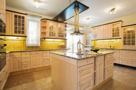 designed: Squeezer on worktop in beauty designed kitchen Stock Photo