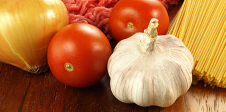 preparations: Photo of ingredients necessary for dinner preparations Stock Photo