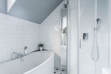 Exclusive white bathroom with bath and shower Foto de archivo