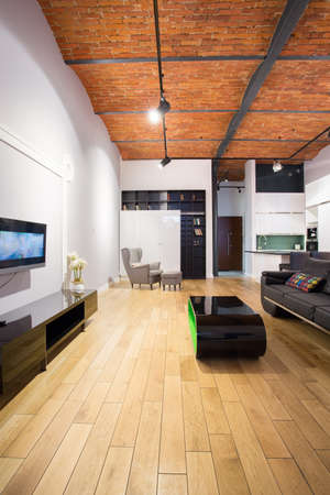 wooden  ceiling: Spacious modern bedsitting room with wooden ceiling