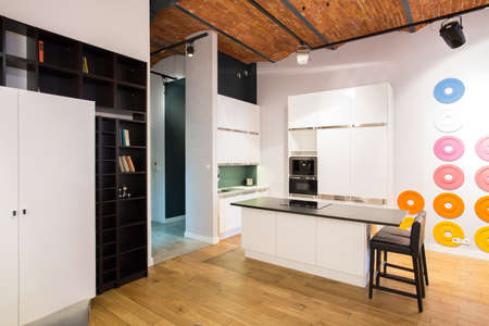 idea comfortable: Modern design of small kitchen in new loft