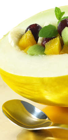 tropical fruits: Fresh salad in melon with tropical fruits