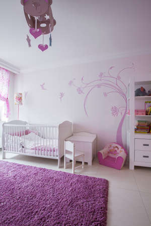 Interior of cute room for baby girl