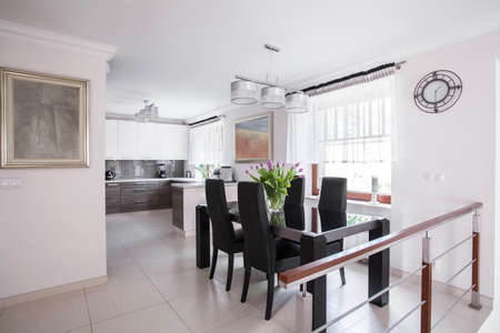 dining set: Elegant dining room in luxury detached house
