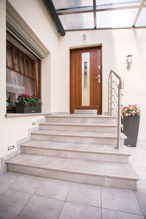 front entry: Vertical view of entrance to detached house