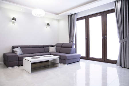 Living room with elegant sofa in modern house Standard-Bild