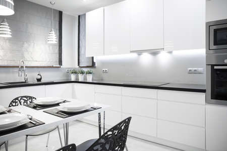 House Design Keuken : White luxury kitchen in contemporary house stock photo picture