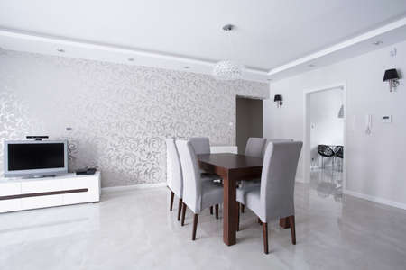 modern wallpaper: Bright interior with silver walls and wooden table