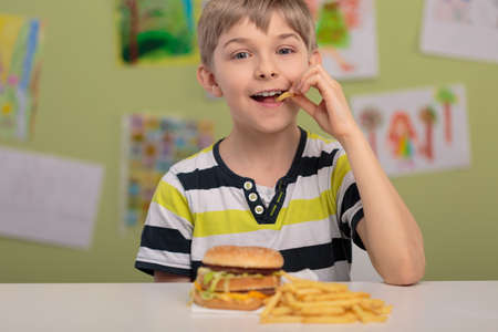 fry: Happy boy eating unhealthy french fries for lunch