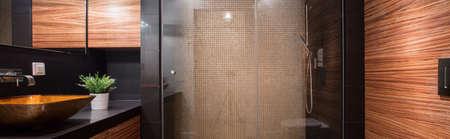 멋진 샤워와 세련 된 욕실의 파노라마