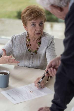 deciding: Elderly couple deciding to get the divorce Stock Photo