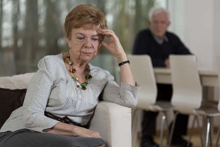 disillusioned: Elderly and sad couple cannot agree nevermore