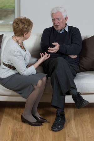 discord: Signs of discord in relationship between elderly people Stock Photo