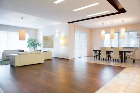 Wooden parquet in spocious cozy drawing room