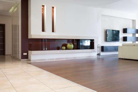 고급 단독 주택에서 현대 거실