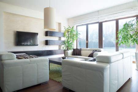 Comfortable cream sofa in luxury sitting room