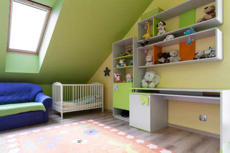 Interior of colorful room for baby child