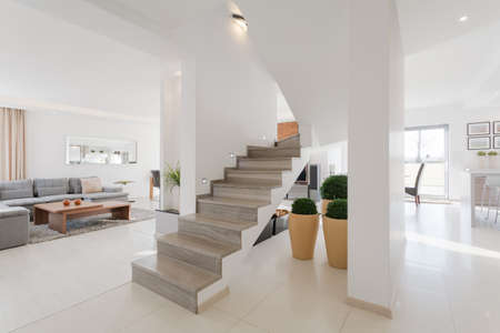 Minimalistic spacious house interior with two floors Stok Fotoğraf