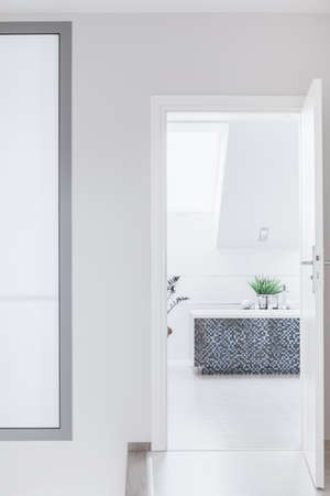 contrastive: Luxurious white bathroom with black contrastive tiles