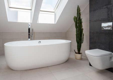 モダンなデザインのバスルームで白独立したバスタブ