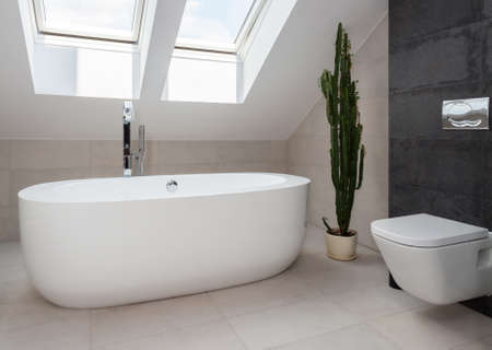 White freestanding bathtub in designed modern bathroom