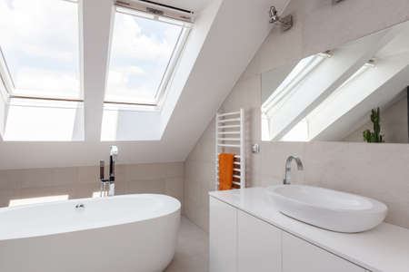 Close-up of skylight in bright designed bathroom