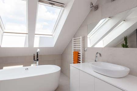Close-up van het dakraam in heldere ontworpen badkamer Stockfoto