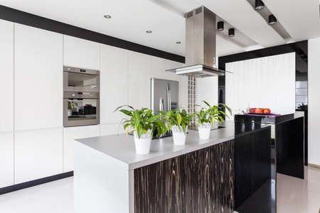 白いキッチンとモダンなインテリアのワークトップ